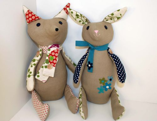Fox and rabbit front view